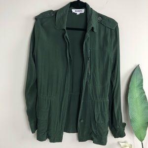 BB DAKOTA Green Lana Hammered Crepe Army Jacket